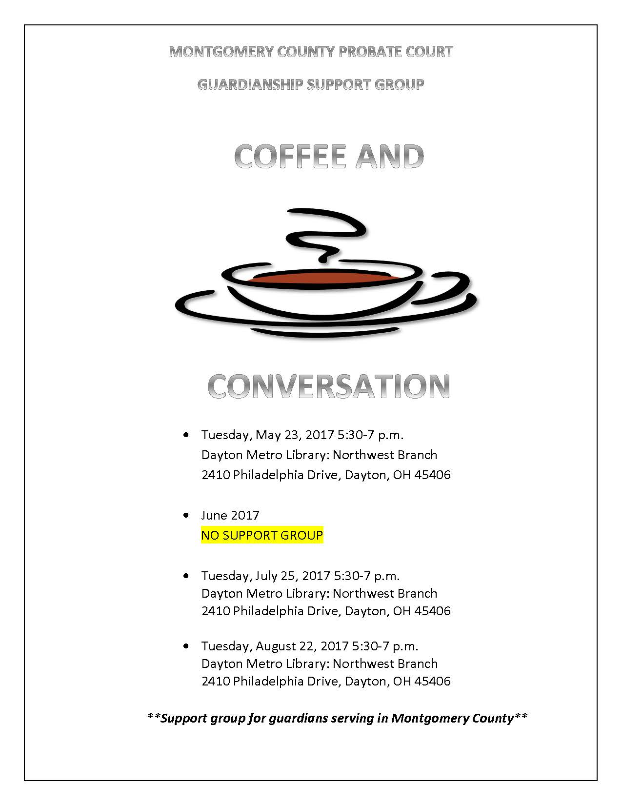 coffee and conversation dates may-august