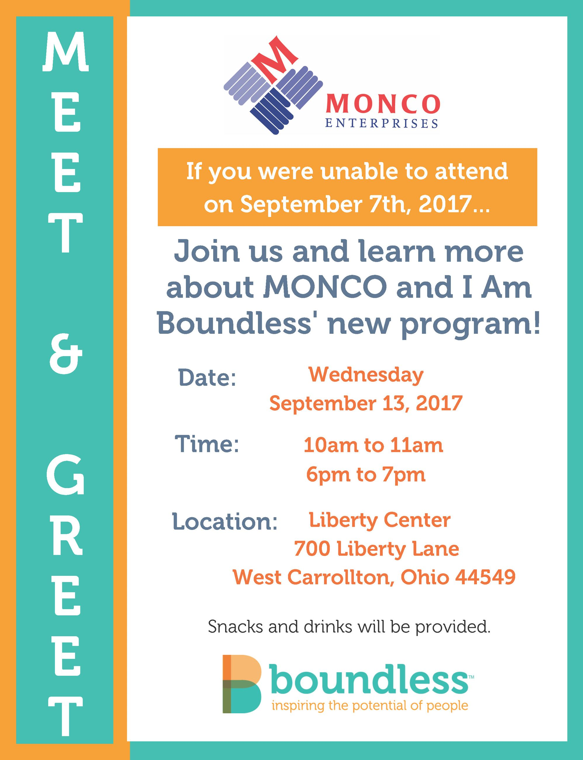 Monco-Boundless Meet and Greet Event Sept 13