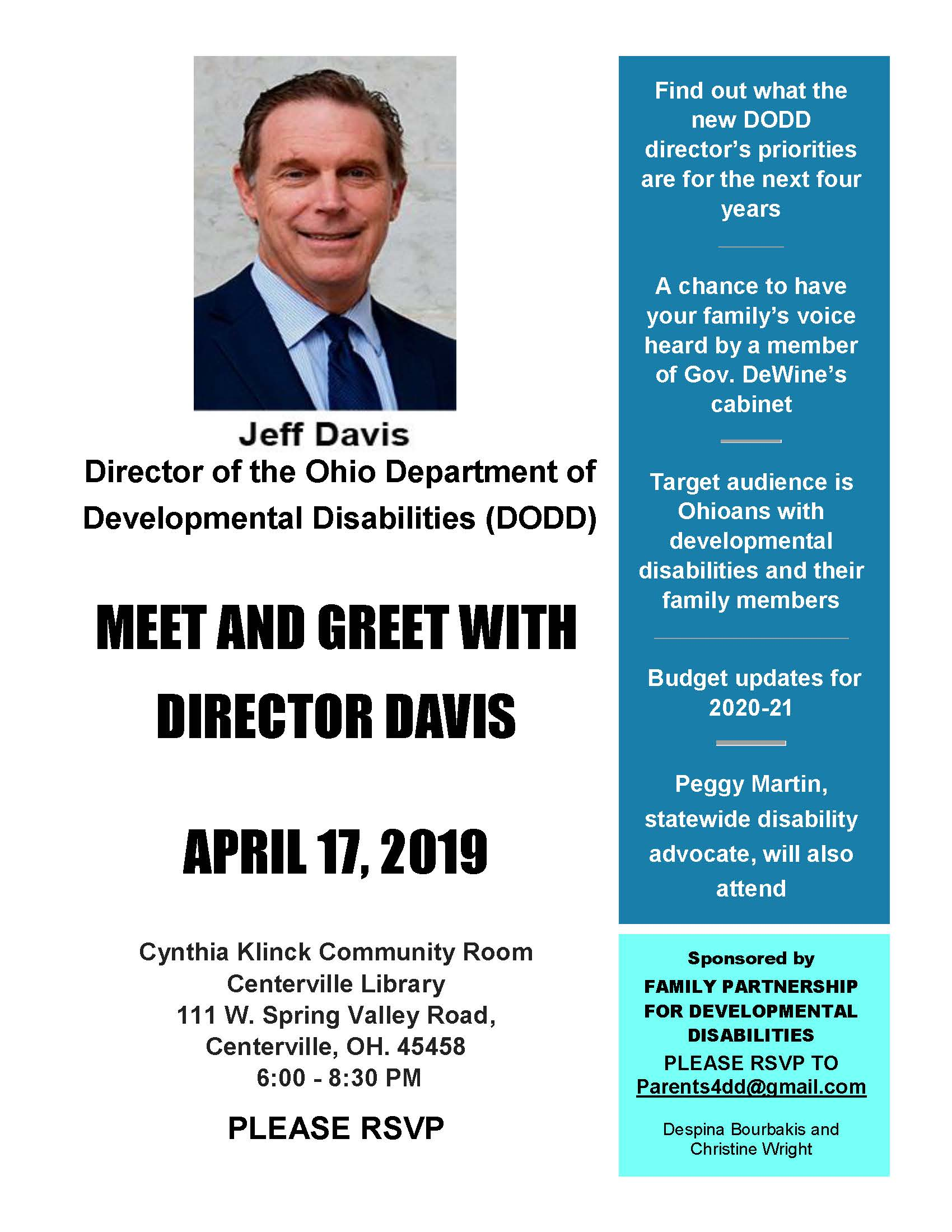 Meet & Greet with Jeff Davis flyer 4-17-19