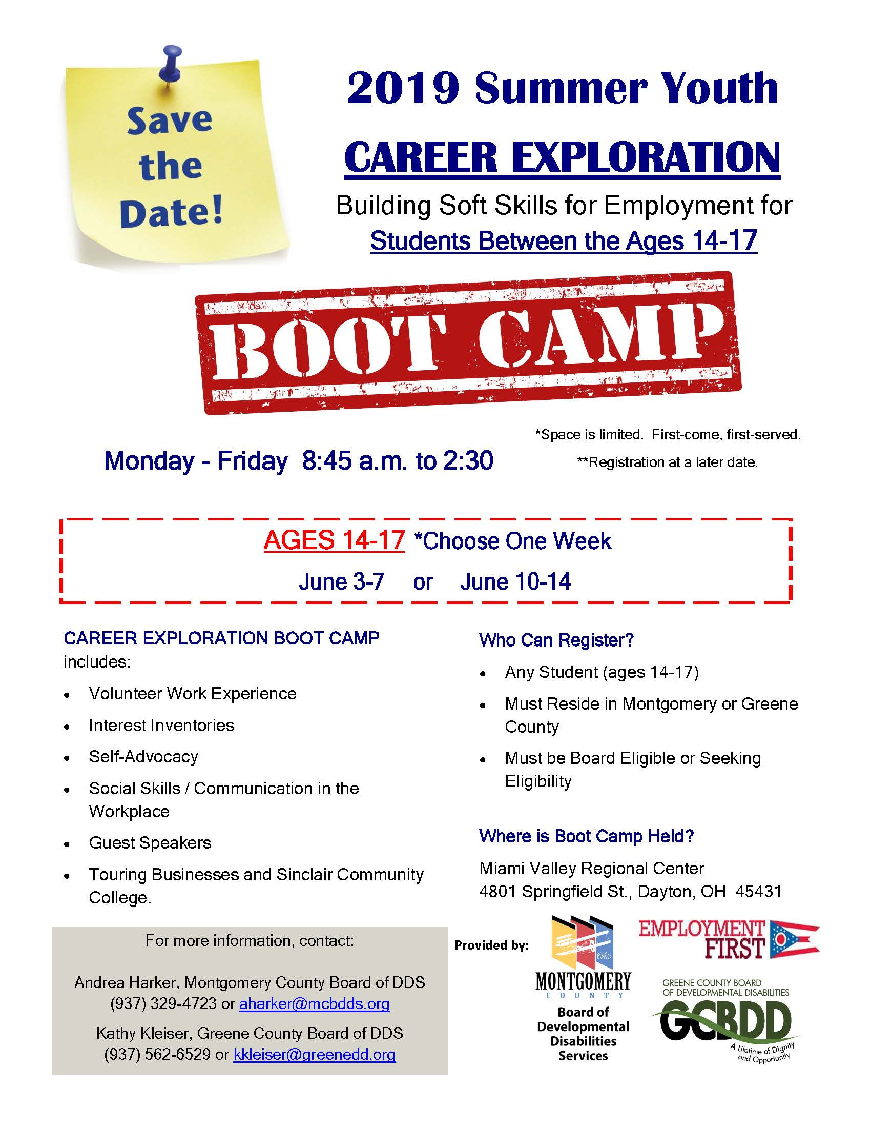 2019 Career Exploration Boot Camp Flyer