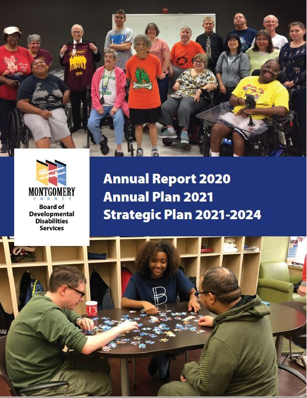 2020 Annual Report cover featuring two photos of people served with members of community